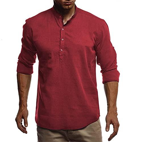 Camisas de Cuello para Hombre de otoño para Hombre Camisa de Manga Larga para