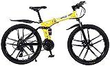 Bicicleta de montaña de 26 Pulgadas 21/24/27 Bicicleta de montaña Plegable de Velocidad DDABLE Doble Disc Freno Bicicleta Bici CLIGINO DE MONTAÑA ADECUADOR para Adultos 24 SPEED-24speed
