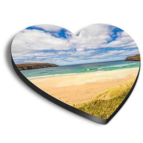 Destination Vinyl ltd Imanes de madera DM con forma de corazón – Isla de Lewis Beach Escocia para oficina, armario y pizarra blanca, pegatinas magnéticas 45412