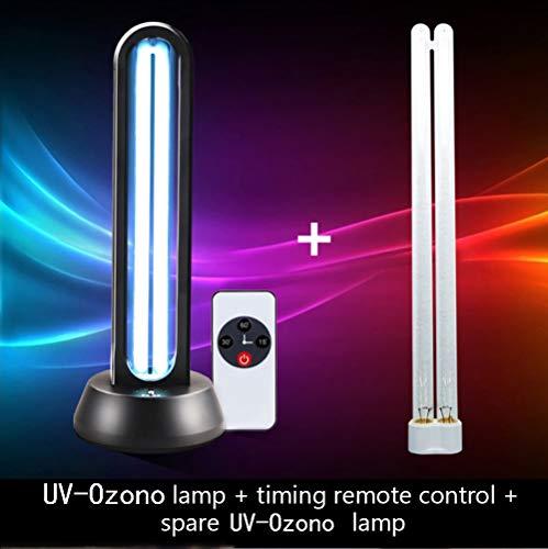 UV-ontsmettingsmiddel Kiemdodend licht 38W UV-C-desinfectielamp met ozon/basis Derde versnelling Timing Afstandsbediening Aluminium Ultraviolette lamp Luchtreiniger voor familie Thuiskantoor (B)