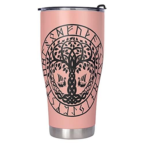 Dessionop Botella de agua con diseño vikingo del árbol de la vida, Vegvisir Wolf cuervo impreso para coche, botella de agua deportiva de 900 ml, tapa abatible vcbe3 900 ml