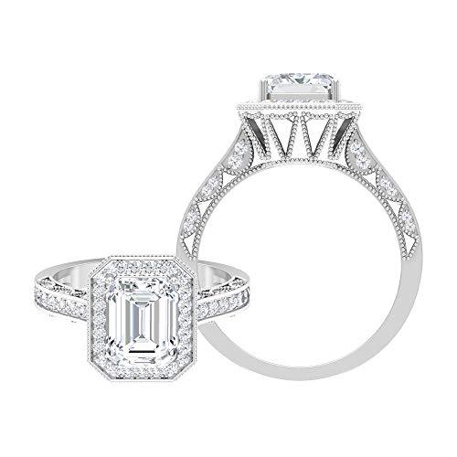 Rosec Jewels 14 quilates oro blanco Octagone Round Brilliant Moissanite