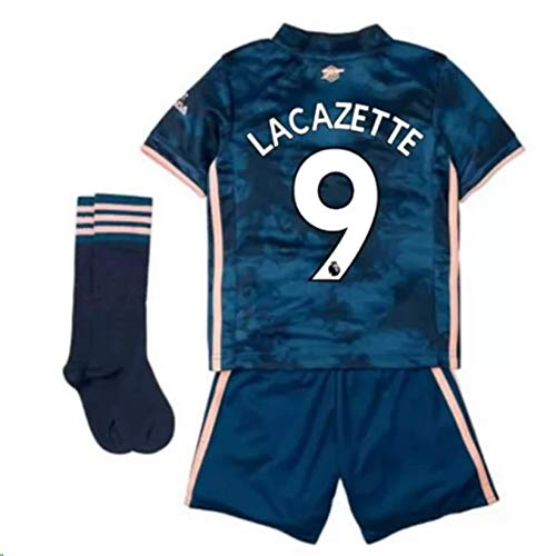 Jertinhf 2020-2021 Kids/Youths Third Soccer Jersey/Short/Socks Colour Navy (Arsenal Lacazette #9(4-5years/size18))