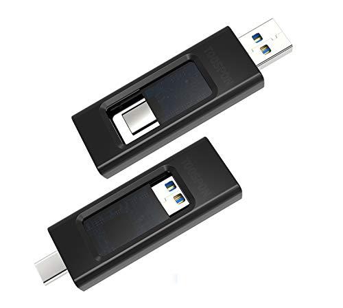 USB-Stick USB-Flash-Laufwerk Typ-A/Typ-C für Handy, Computer, Fernsehgeräten, Auto-Playern, Foto- und Videodateien Speichererweiterung Wiedergabe (64GB Schwarz)