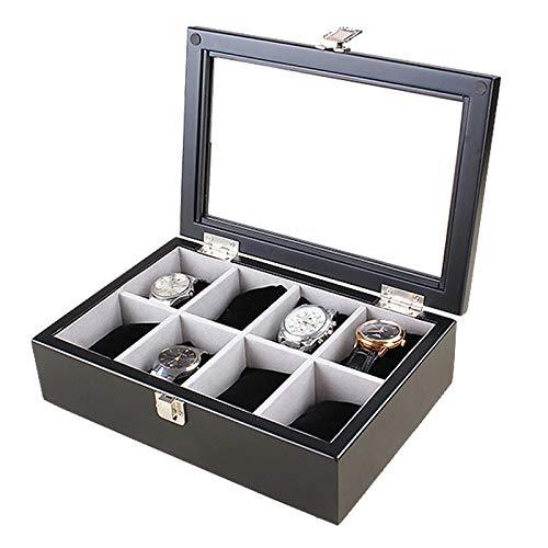 Vitrina de Reloj de Madera con 8 Ranuras, Organizador de Caja de Almacenamiento de colección de Relojes de joyería con Tapa de Cristal para Hombres y Mujeres, marrón/Negro