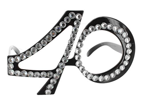 MIK Funshopping Jahreszahlen-Geburtstags-Brille Party-Brille Spass-Brille mit Strassapplikation (40)