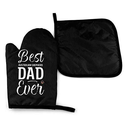 Best Australian Shepherd Dog Dad Ever Paw Print Microwave Oven Mitts And Pot Holders Cover Set Heat Insulation Blanket Mat Pad Mittens Glove Baking Pizza Barbecue Bbq Accessories Home Kitchen Decor