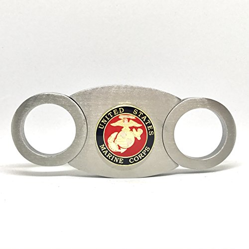 US Marines Cigar Cutter for Marine Corp, Self-Sharpening Double Guillotine Blades in Gift Box by Cigar Cutters by Jim