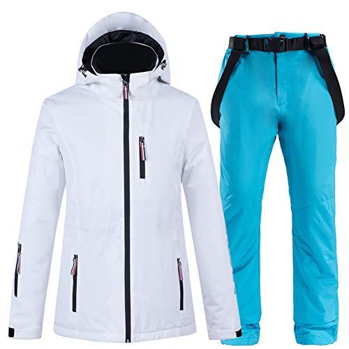 XUJINGJIE Damen Skianzug wasserdichte Winddichte Atmungsaktive Winter Thermo Skijacken und Skihose Snowboard Schneeanzug 2Er Set,C,XL