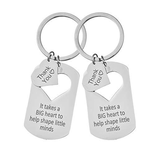 Llavero de Agradecimiento,Paquete de 2 llaveros con Colgante de Etiqueta de corazón de Acero para Aniversario de cumpleaños,Llavero de Agradecimiento con Recorte de corazón,Regalos para Mujeres