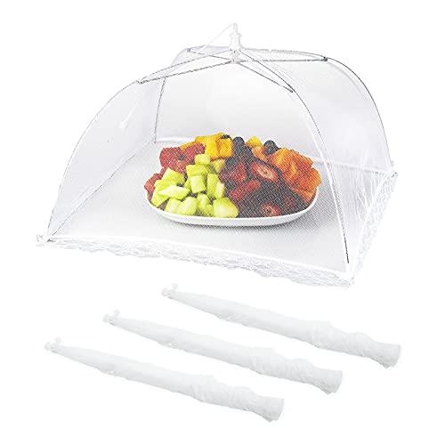 Protectora Alimentos Fresca,Campana Plegable Paraguas,4 Unids Mosquitera Comida Desplegable Cubre Platos Fresca...