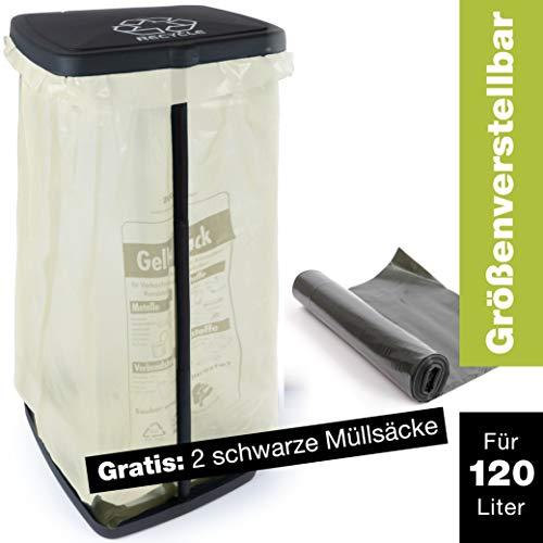 ProfessionalTree Müllsackständer 120L - Höhenverstellbarer Müllbeutelhalter mit Deckel und Klemmring - Ständer Gelber Sack - Gratis 2 Schwarze Müllsäcke 120L