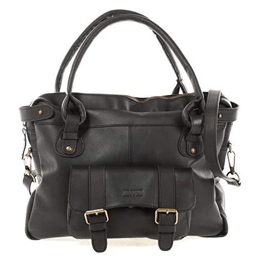 LECONI Henkeltasche Echtleder Damentasche Vintage Look Schultertasche natur Damen Ledertasche Frauen Handtasche Leder 38x29x11cm schwarz LE0050-wax