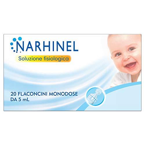 NARHINEL Soluzione Fisiologica 20 Flaconcini Monodose di Soluzione Salina Isotonica Sterile per una Delicata Detersione Quando il Naso è Bloccato, in Caso di Raffreddore o Condizioni Allergiche, 5ml