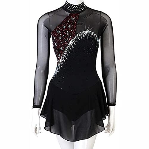 XRDSHY Vestido de Patinaje Maillot de Baile de Gimnasia para niñas/Mujeres Traje de Patinaje artístico de competición Profesional,Black-XL