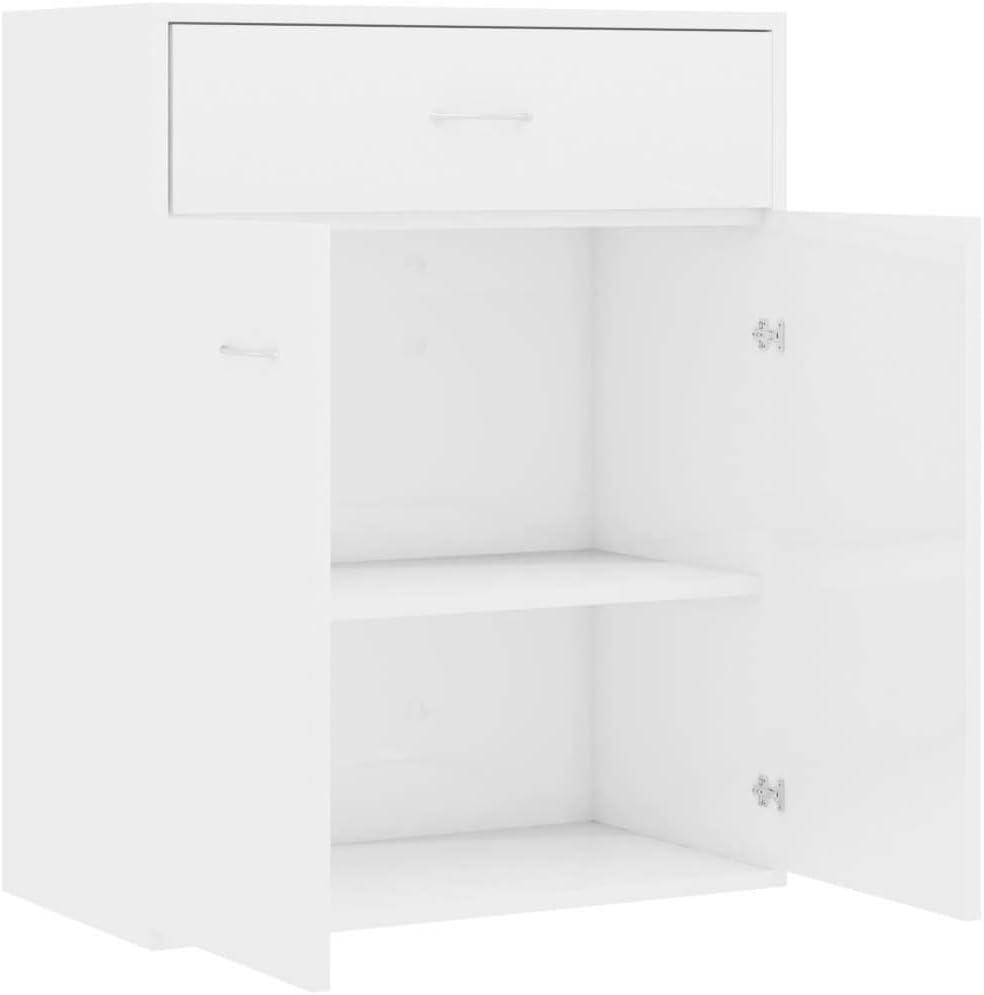WooDlan Aparador de aglomerado Blanco Brillante,60x30x75 cm