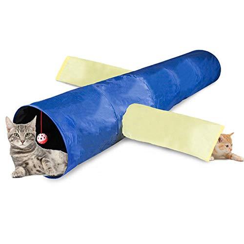 FHKGCD Lustiges Katzenspielzeug Haustier Tunnel 3 Löcher Röhren Ball Puzzle Trainingstraining Spielzeug Für Kaninchen Hamster Faltbares Spielzeug Interaktiv, Wie Bild Zeigen, 117X30Cm