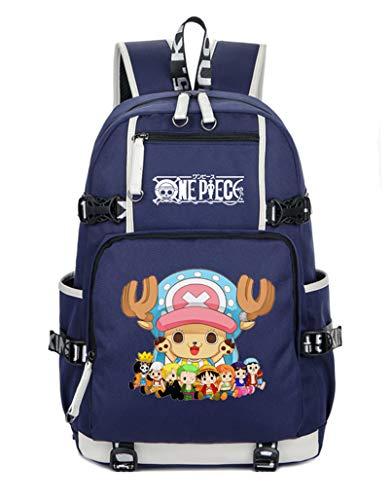 WANHONGYUE One Piece Tony Tony Chopper Anime Backpack Student Schultasche Laptop Rucksäcke Freizeittasche Reiserucksack Daypack Blau-2