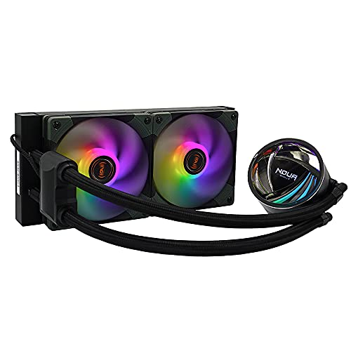 Noua Sub-Zero AT240 ARGB Sistema de refrigeración radiador de 240 mm disipador líquido 2 ventiladores RGB Rainbow Addressable 5V 3Pin compatible con Intel 1200 1150 1151 1155 1366 2066 AMD AM4 AM3