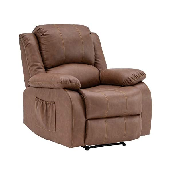 VINGLI Recliner Chair for Living Room PU Leather Recliner Heavy Duty Manual Reclining...