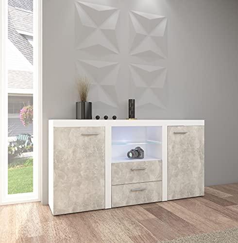 Küchen-Preisbombe TOP Kommode Sideboard Rumba Wohnwand Wohnzimmer Anbauwand Betonoptik Weiss matt