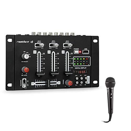 Resident DJ - DJ-21, Mesa de mezclas DJ, Set de mezcla, 2,3 canales, 600 Ohm, 76 dB, USB, Micrófono, Negro