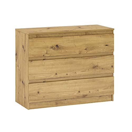 Kommode mit DREI Schubladen Sideboard Mehrzweckschrank Schrank fur Wohnzimmer Schlafzimmer Kinderzimmer Garderobe Flur 2 Farbvarianten (45x106x84.5 cm LxBxH) (Eiche Artisan)