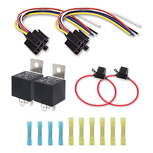 Recoil 2 Pack Automotive 5-Pin 30/40A 12V SPDT Relays with Interlocking Relay Sockets and In-line ATC Fuse Holders (2 Pack)