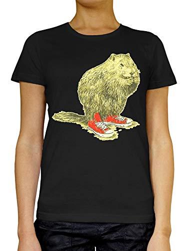 Beaver with Sneakers vrouwen T-shirt wit grijs zwart