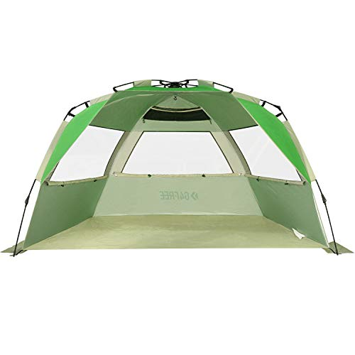 G4Free Easy Set up Beach Tent Deluxe XL, Portable Beach Shade 4 Person Pop up Sun Shelter UPF 50+ UV Protection Large Family Size(Green)