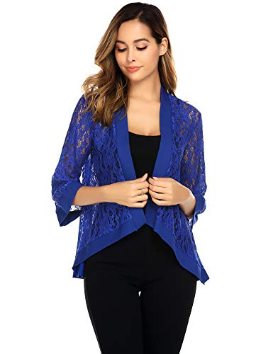 Zeagoo 3/4 Sleeve Cardigan for Women Soft Open Front lace Kimono(S-XXL) Blue