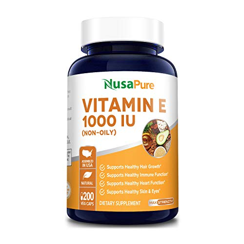 Vitamin E 1000 IU 200 Vegetarian Capsules (Non-Oily, Non-GMO & Gluten Free) - Mixed D-Alpha Tocopherol - Antioxidant for Healthy Skin, Eyes & Hair - Powder Caps