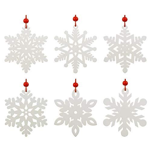 LEMESO 24 pz Decorazioni Albero di Natale Bianche Legno Fiocchi di Neve Pendenti Ciondoli Addobbi Natalizi per Ornamenti da Appendere con Cordoncini Casa Negozi Scuola Party