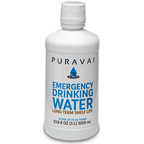 Puravai Emergency Drinking Water, 100% Bacteria Free Drinking Water, Purified Emergency Water, 20 Year Shelf Life, Long Term Water Storage, 6-Pack of 1 Liter Bottles, Sturdy Reusable Canteen Bottles