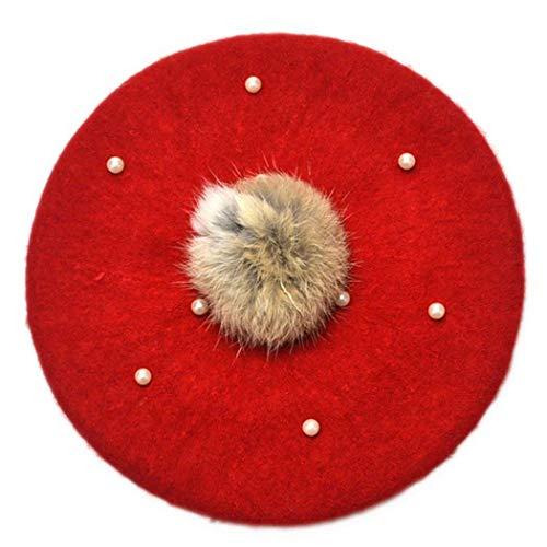 Anywow Baby Mädchen Winter Wolle Mütze Pearl Cap Warme Vintage Französisch Künstler Mütze Beanie Kappe 3-6J