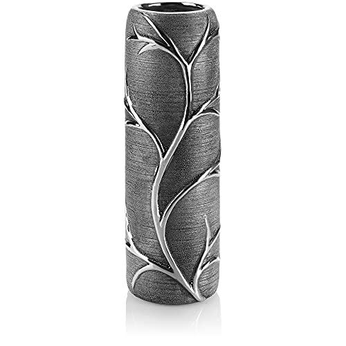 com-four® Vase aus Keramik - Blumenvase im AST-Design - Vasen Deko für Blumen - Deko Vase für Zuhause und Büro