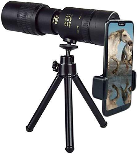 woejgo 4K 10-300X40mm Super-Telezoom-Monokular-Teleskop tragbar, Wasserdichtes Stoßfestes Hd-teleskop, 7-17x Vergrößerung, mit Stativ + Handy-Clip, für Vogelbeobachtung, Fußballspiele.