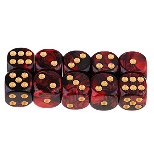 FLAMEER D6 Dados de Seis Caras para Juegos 16mm Dice Set de 10pcs - Rojo + Negro