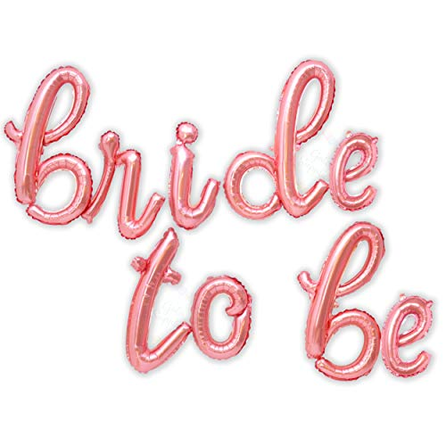 Bride to Be Letter Balloons - Big Rose Gold Bride to Be Banner in Cursive/Script Letters | Great for Bachelorette Party Decorations/Bridal Shower Decor | Bride to Be Foil Mylar Balloon