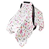 Muslin Baby Car Seat Canopy, Metplus Infant Carseat Cover - Extra Wide Universal Fit, Lightweight Breathable Soft for Babies Girls Shower Gift (Purple Flower)