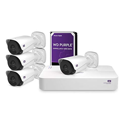WD ReadyView 4MP Surveillance System - 1520p HD, 4TB WD Purple HDD, PoE, NVR, IP67-rated, 4 Cameras,...