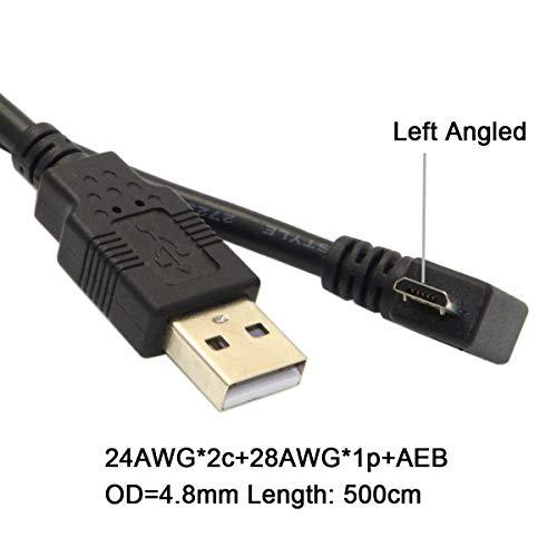 CY Micro USB Stecker auf USB 2.0 Daten- Ladekabel für Handy & Tablet rechts abgewinkelt 90 Grad Winkel Schwarz (5 m, rechtwinklig) 1M Left Angled …