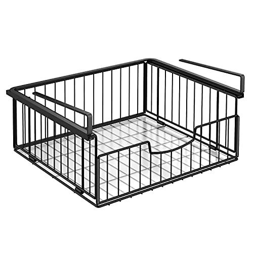 Cesta colgante, cesta colgante de metal, organizador para debajo del armario, cesta de almacenamiento perfecta para la cocina, escritorio y despensa, color negro