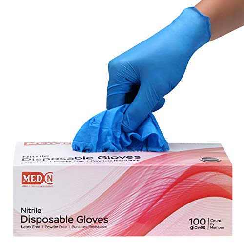 Blue Nitrile Gloves,Case of 100,4 mil Disposable Gloves,Latex Free,Powder Free,Nitrile Exam Gloves,Textured Extra Strong Cleaning Gloves for Women and Men Use,Color Blue,Size Medium