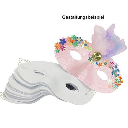 trendmarkt24 Kinder-Halb-Masken 12 Stück aus Kunststoff 16x9 cm weiße Gesichtsmaske mit Gummizug Faschingsmaske bemalen basteln gestalten Karneval Fasching Maskenball Kostüm-Ball 20510