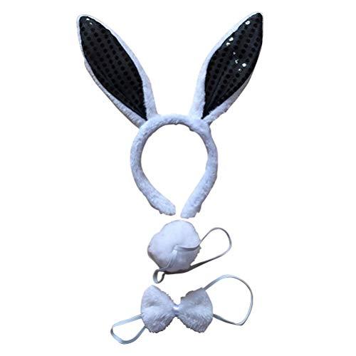 PRETYZOOM Hasen Kostüm Set mit Haarreif Fliege Schwanz Plüsch Bunny Kostüm Set Ostern Geschenke für Ostern Party Kostüm Zubehör 3 Stücke (Schwarz)