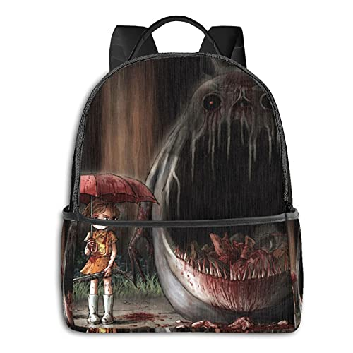 Child With Umbrella Black Side Backpack Adult Children Durable Travel Business Bag School Outdoor Work Comfortable Fashion Men's and Women's College Gifts