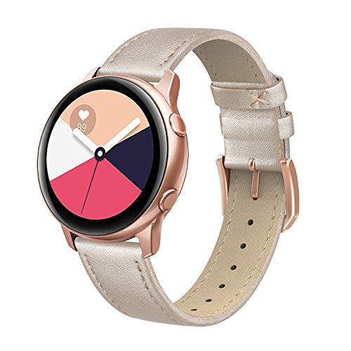 SWEES Leather Band Compatible for Samsung Galaxy Watch 3 41mm / Galaxy Watch Active 40mm / Active 2 44mm / Galaxy Watch 42mm, 20mm Genuine Leather Slim Thin Replacement Bands for Women Men, Champagne