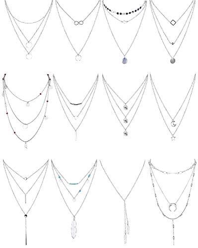 Finrezio 12 Piezas Collar En Capas De Tono Plateado para Mujeres Niñas Cadena De Gargantilla Larga Sexy Collar y Bar Conjuntos De Collar Colgante De Plumas