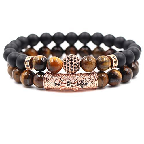 Pulsera 2er-set unisex señores lava piedra natural perlas flexible negro marrón